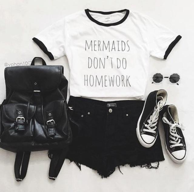 Mermaids dont do homework outfit