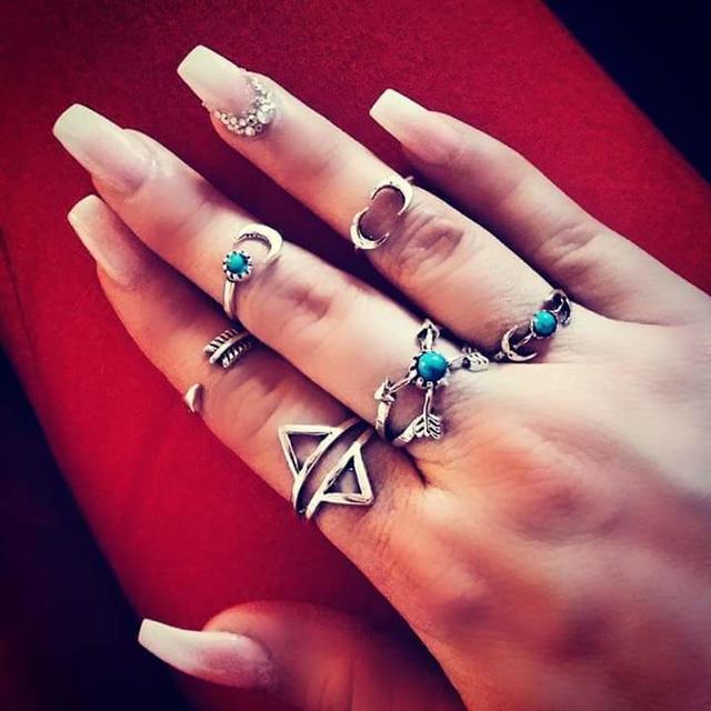 Rings set boho style