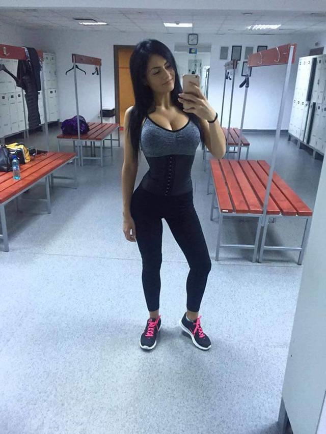 Hot Fitness girl after training