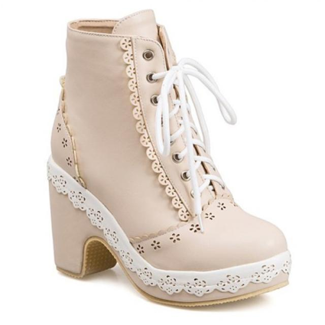Floral Engraving Lace-Up Chunky Heel Short Boots- RoseWholesale