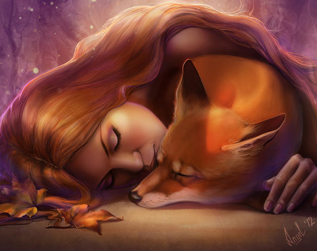 A girl and a fox