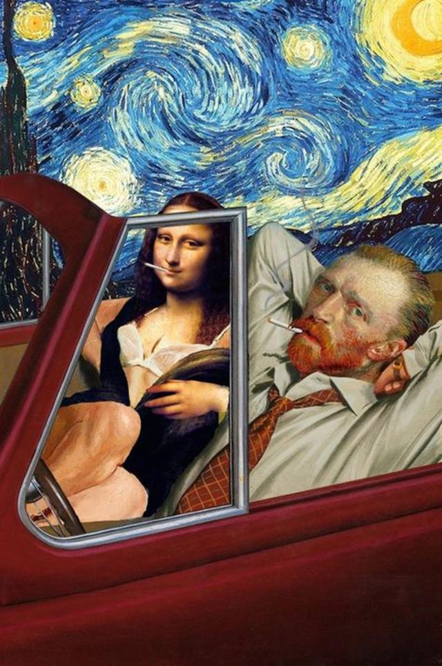 chillin with van gogh and mona