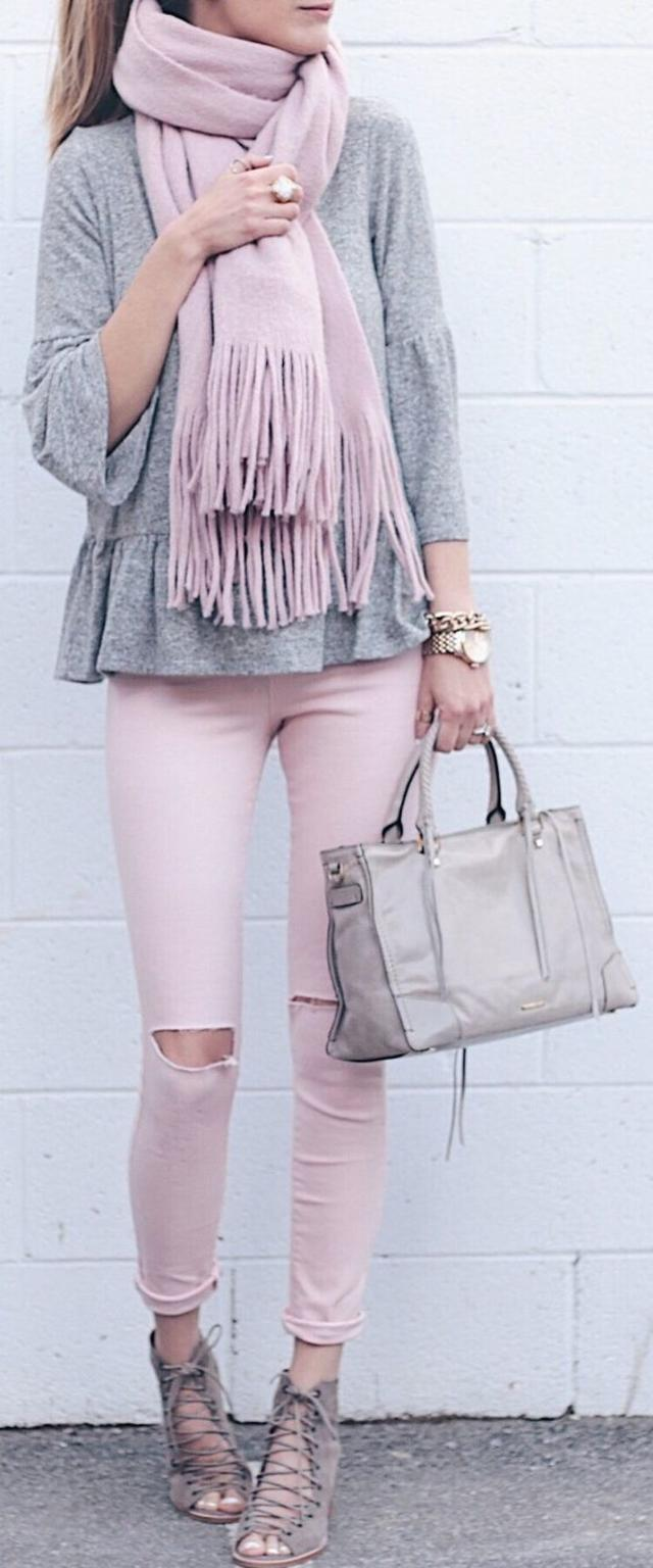 Pink Fringe Scarf : Grey Top : Pink Destroyed Skinny Jeans : Grey Laced Up Booties