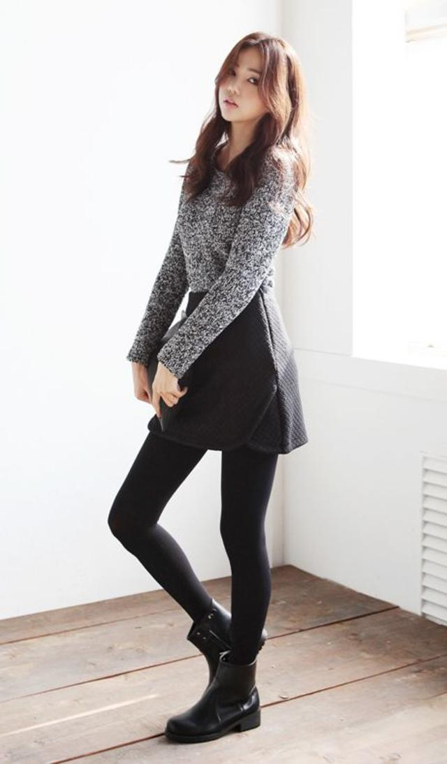 Cute grey and black outfit with the grey sweater and black skirt, tights, and shoes