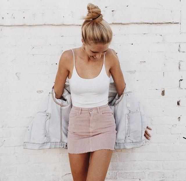 white top w jeans and skirt