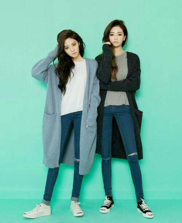 twin look coat blue denim jean pants sweater casual winter warm
