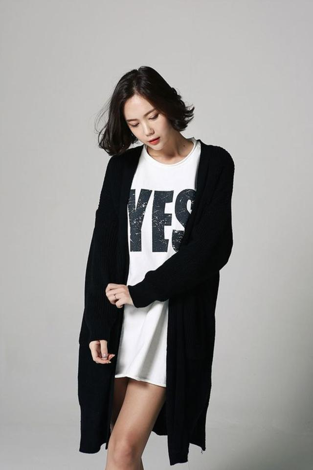 Side Cut Long Cardigan