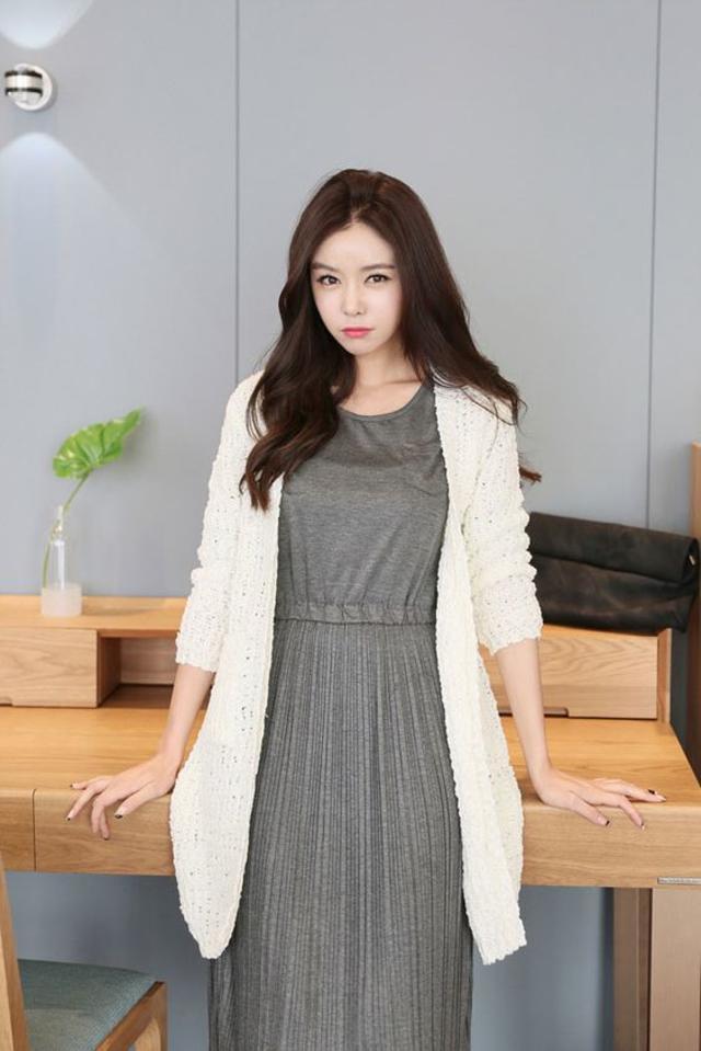 Wrinkle Knit Open Long Cardigan