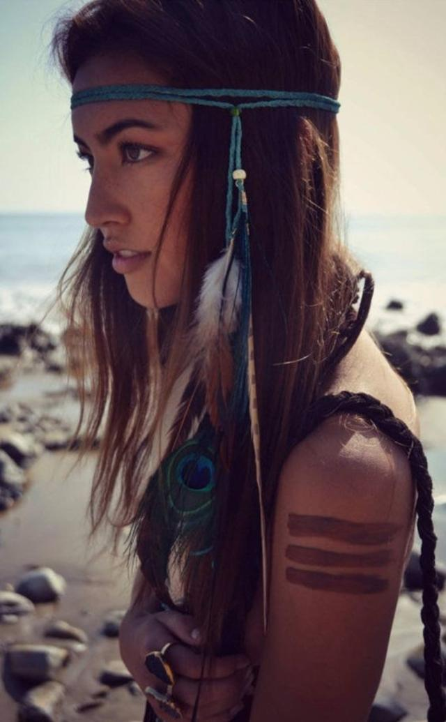 Boho feather headband