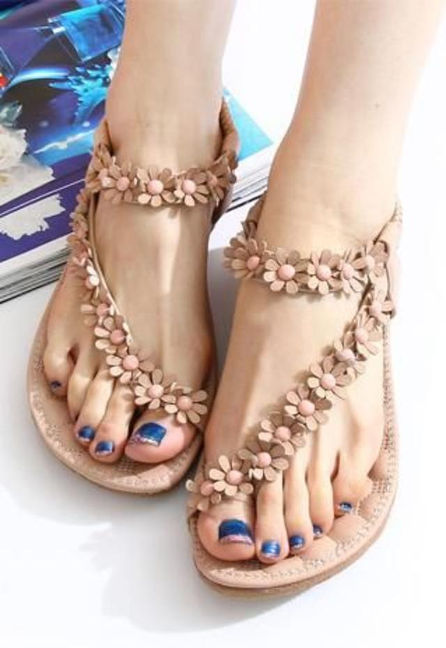 FASHION NEW STYLE SWEET BOHEMIAN BEADED SANDALS