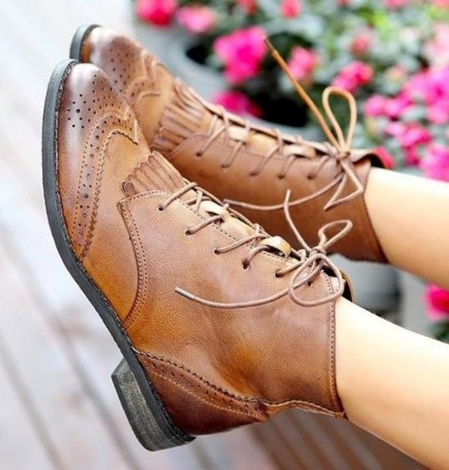 Womens Lace Up Tassel Fringe Punk Low Heel Brogue Ankle Boots Oxford Shoes ec1eed822ecb