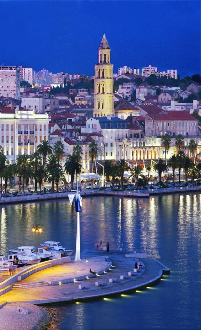 Split waterfront with the bell tower of St Dominius