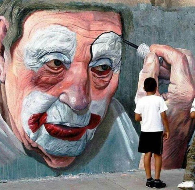 Street art, clown face