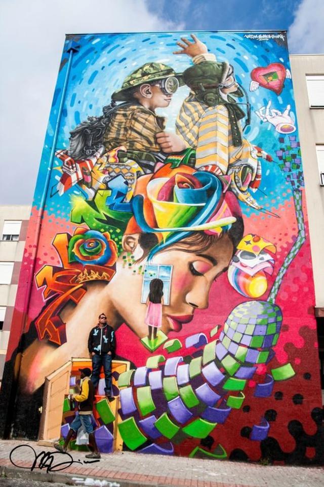 Street art , Mural (Sacavém, Loures, Lisbon, Portugal) by Vespa