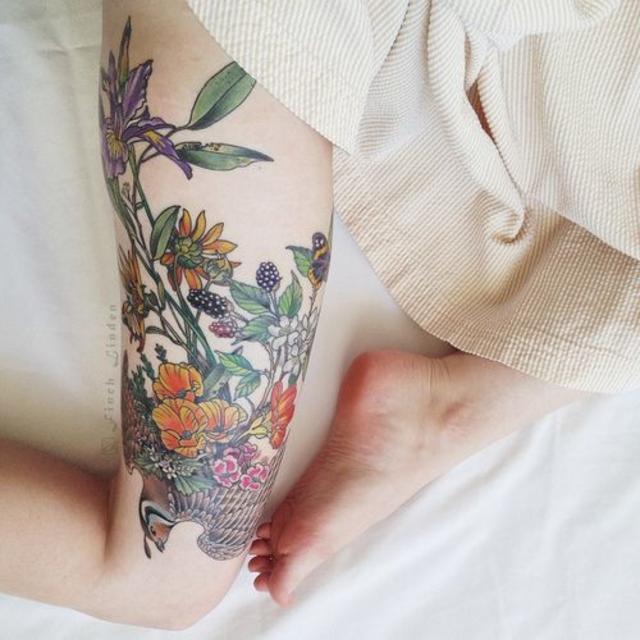 Quail, California Poppies, Iris, Pansy, Blackberries