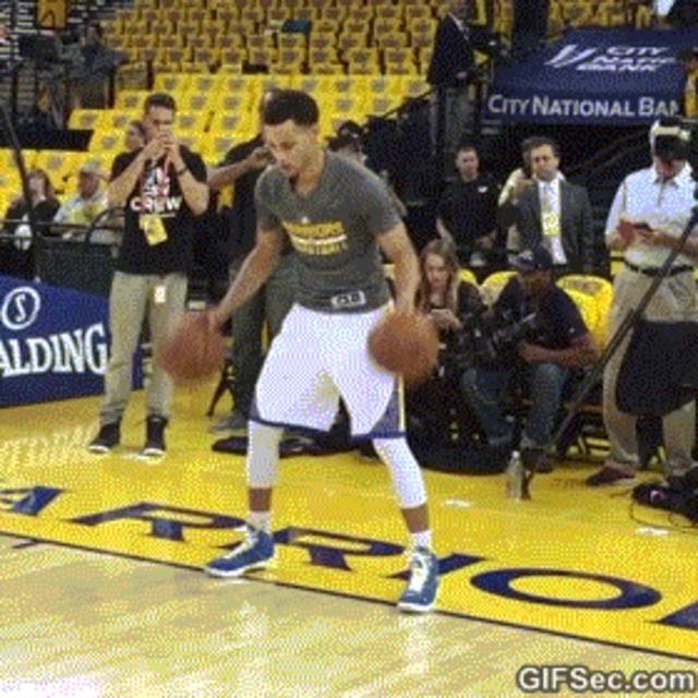 Steph Curry Dribbling Two Basketballs