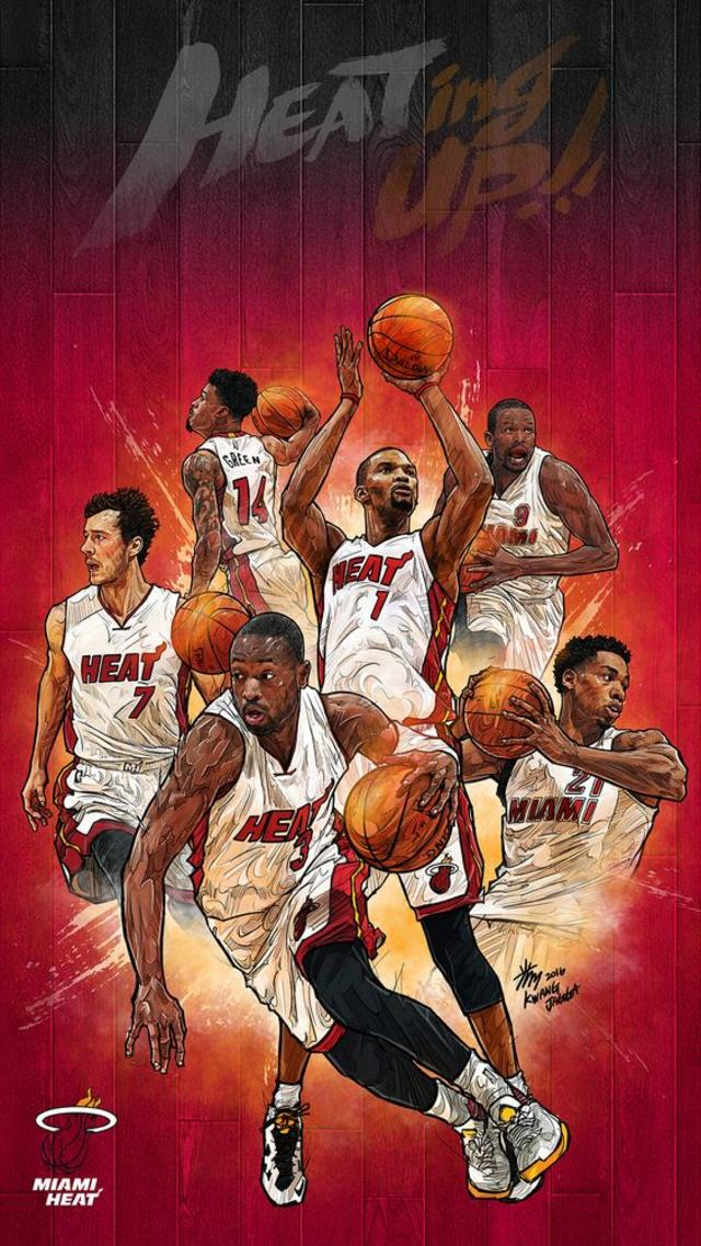 Miami HEAT - NBA Phone Wallpaper - Artist - Kim MinSuk