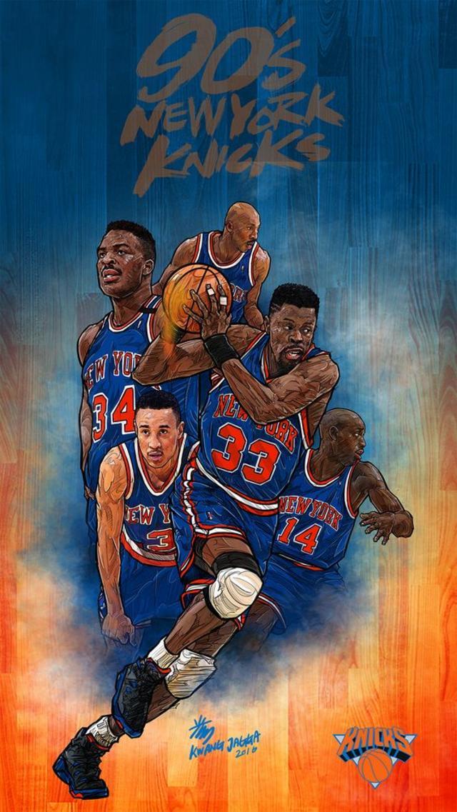 90s Knicks - NBA Phone Wallpaper - Artist - Kim MinSuk