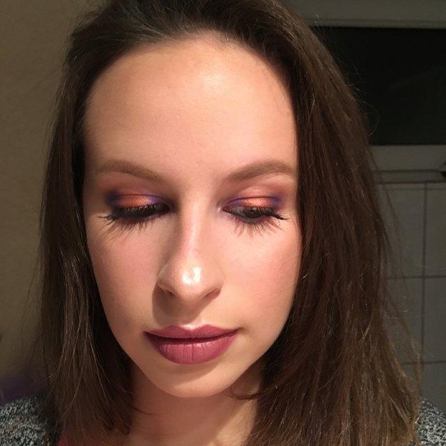 Purple and orange makeup