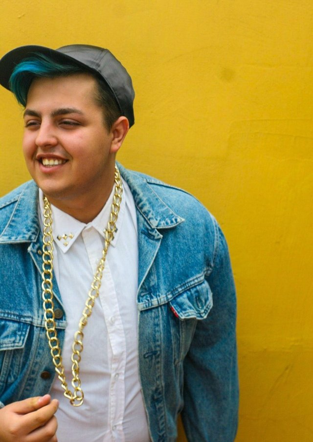 #photography #denim #chain #yellow #wall #smile